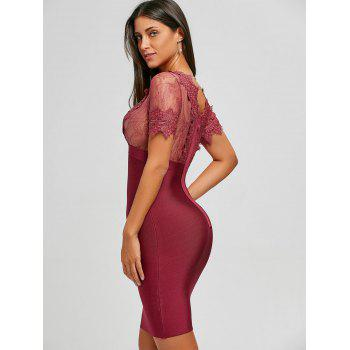Lace Panel Plunging Neck Bandage Dress - RED M
