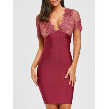 Lace Panel Plunging Neck Bandage Dress - RED RED