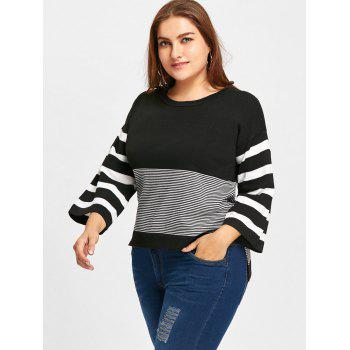 High Low Striped Plus Size Jumper Sweater - BLACK 5XL