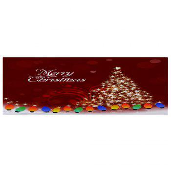 Sparkling Christmas Tree Print Coral Fleece Skidproof Bath Mat - DEEP RED W24 INCH * L71 INCH