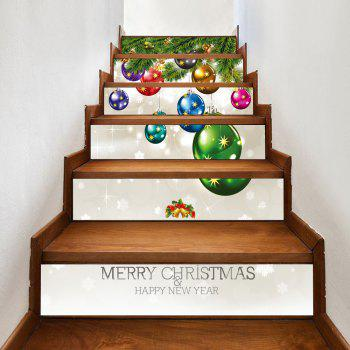 6Pcs Christmas Small Bells Print Home Stairs Stickers - COLORMIX 100*18CM*6PCS