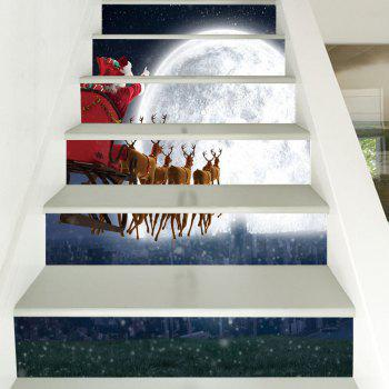 Christmas Deer Sleigh Moon Pattern Stair Stickers - COLORMIX 100*18CM*6PCS