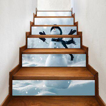 Christmas Snowy Snowman Pattern Stair Stickers - GREY WHITE 100*18CM*6PCS