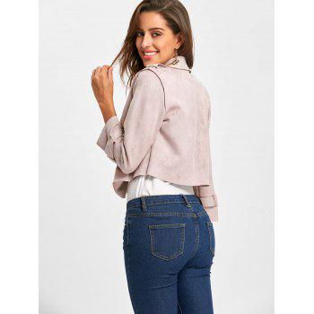 Turndown Collar Faux Suede Jacket - PINK ONE SIZE
