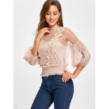 Applique Mesh Top with Camisole - APRICOT ONE SIZE