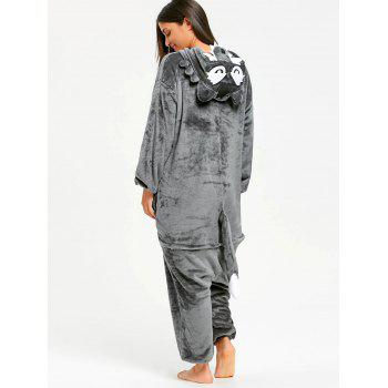 Fleece Onesie Wolf Jumpsuit Sleepwear - GRAY S