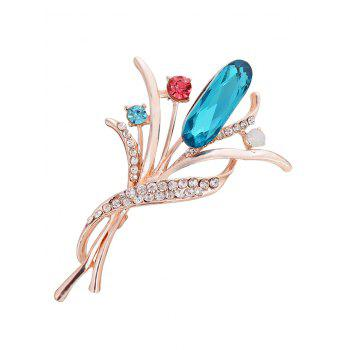 Vintage Artificial Gem and Rhinestone Decorated Brooch - BLUE BLUE