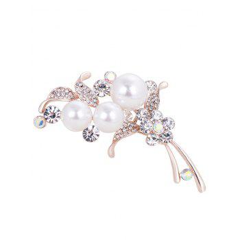 Ladies Artificial Pearl and Rhinestone Embellished Brooch - WHITE WHITE