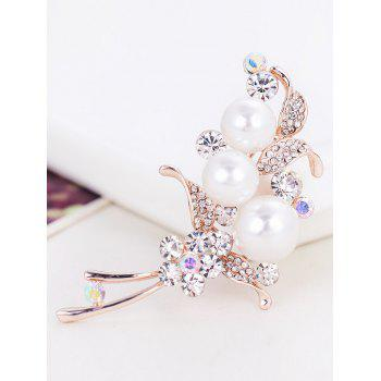 Ladies Artificial Pearl and Rhinestone Embellished Brooch - WHITE