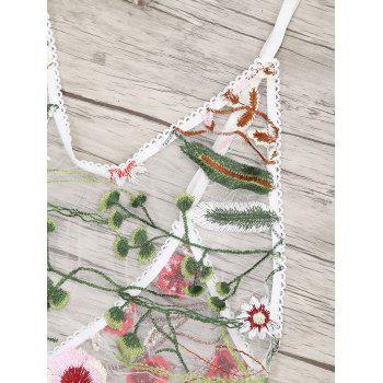 Floral Embroidered Sheer Mesh Teddy - WHITE WHITE