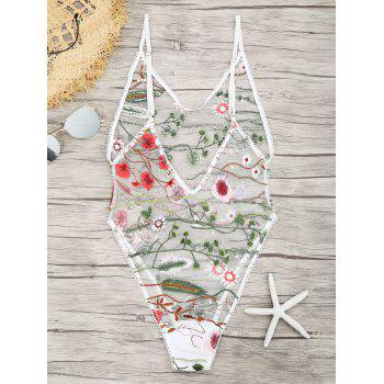 Floral Embroidered Sheer Mesh Teddy - WHITE M