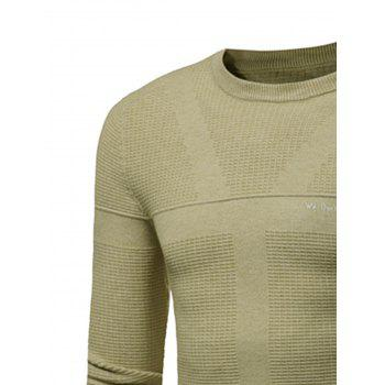 Graphic Print Jacquard Pullover Sweater - TEA COLORED L