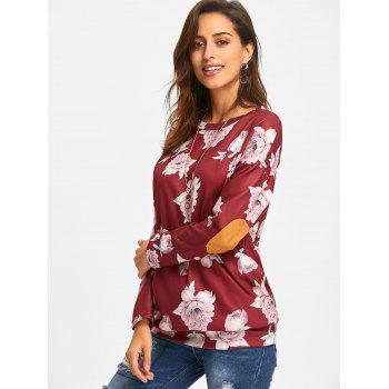 Long Sleeve Elbow Patch Floral Tunic Top - WINE RED XL