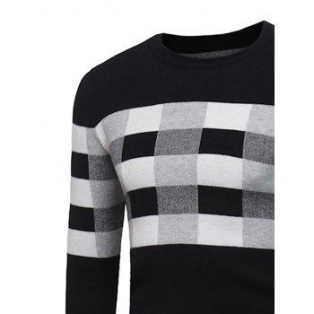 Plaid Color Block Pullover Sweater - BLACK L
