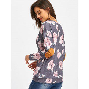 Long Sleeve Elbow Patch Floral Tunic Top - GRAY S