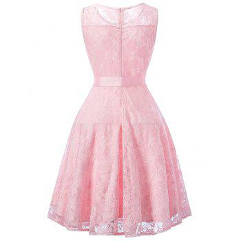 Sleeveless Lace Swing Dress - PINK XL