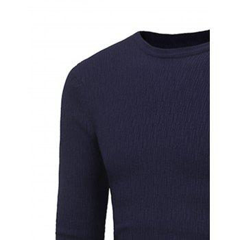 Stretchy Stripe Jacquard Pullover Sweater - DEEP BLUE 2XL