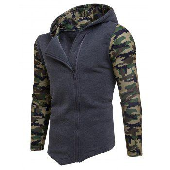Camouflage Panel Asymmetric Fleece Zip Up Hoodie - DEEP GRAY L