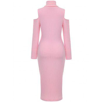 Open Shoulder Ribbed Turtleneck Bodycon Dress - PINK XL