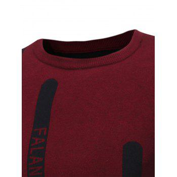 Graphic Print Ribbed Pullover Sweater - RED XL