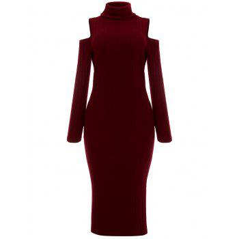 Open Shoulder Ribbed Turtleneck Bodycon Dress - WINE RED WINE RED