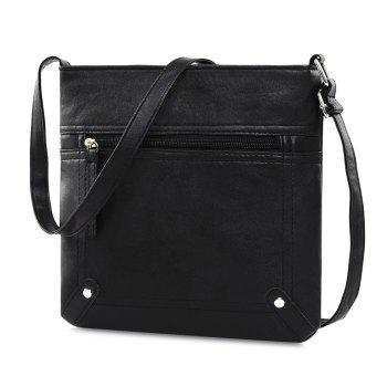 Studs Stitching PU Leather Crossbody Bag - BLACK