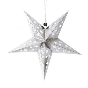 Christmas Star Shape Party Laser Hang Decorations 10Pcs - WHITE WHITE