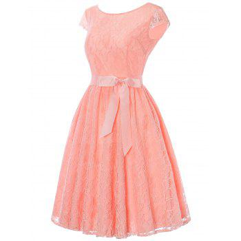 Cap Sleeve Lace Swing Dress with Tie Bowknot - ORANGEPINK XL