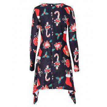 Bell Snowman Print Christmas Mini Swing Dress - BLACK 2XL