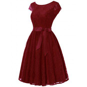 Cap Sleeve Lace Swing Dress with Tie Bowknot - WINE RED 2XL