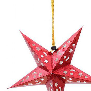 Christmas Star Shape Party Laser Hang Decorations 10Pcs - RED