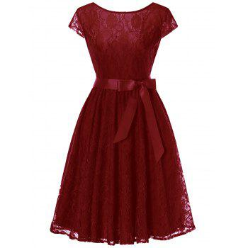 Cap Sleeve Lace Swing Dress with Tie Bowknot - WINE RED WINE RED