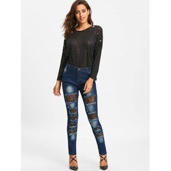 Distressed Lace Insert Denim Jeans - BLUE BLUE