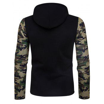Camouflage Panel Asymmetric Fleece Zip Up Hoodie - BLACK S