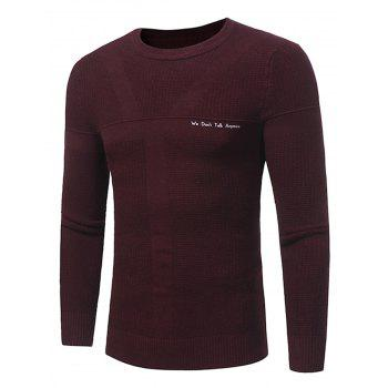 Graphic Print Jacquard Pullover Sweater - WINE RED WINE RED