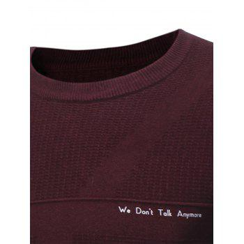 Graphic Print Jacquard Pullover Sweater - WINE RED XL