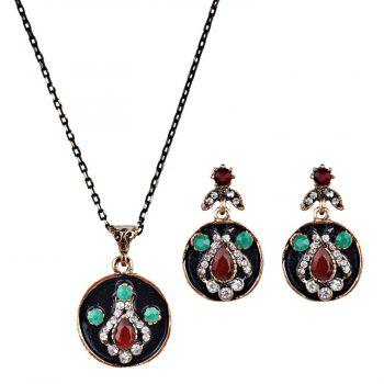 Faux Gem Teardrop Round Jewelry Set - RED RED
