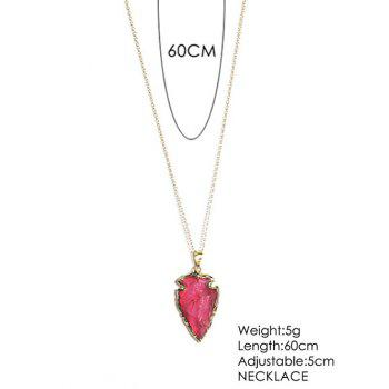 Natural Stone Arrow Shaped Pendant Necklace -  RED
