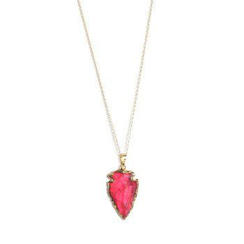 Natural Stone Arrow Shaped Pendant Necklace - RED RED