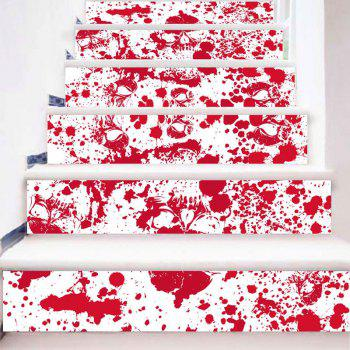 Bloodstain and Skull Printed Decorative DIY Stair Stickers - RED/WHITE RED/WHITE