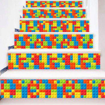 Lego Bricks Print Decorative DIY Stair Stickers - COLORFUL COLORFUL
