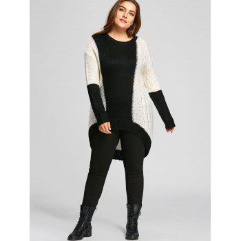 Color Block Plus Size Chunky Knit High Low  Sweater - WHITE/BLACK 2XL