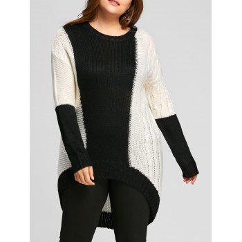 Color Block Plus Size Chunky Knit High Low  Sweater - WHITE AND BLACK WHITE/BLACK