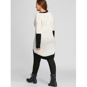 Color Block Plus Size Chunky Knit High Low  Sweater - WHITE/BLACK 3XL