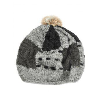Soft Fuzzy Ball Decorated Slouchy Knitted Beanie - GRAY GRAY