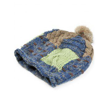 Soft Fuzzy Ball Decorated Slouchy Knitted Beanie -  CADETBLUE