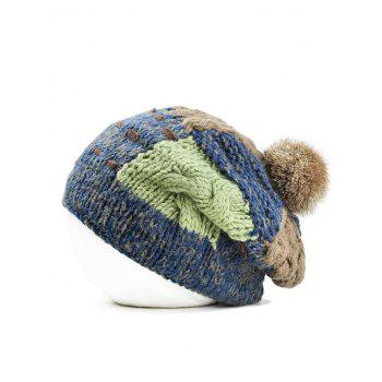 Soft Fuzzy Ball Decorated Slouchy Knitted Beanie - CADETBLUE CADETBLUE