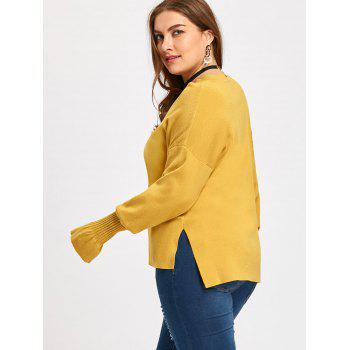Flounce Lantern Sleeve Plus Size V Neck Sweater - YELLOW YELLOW