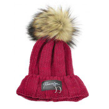 Letter Label Decorated Fuzzy Ball Knitted Beanie - RED RED