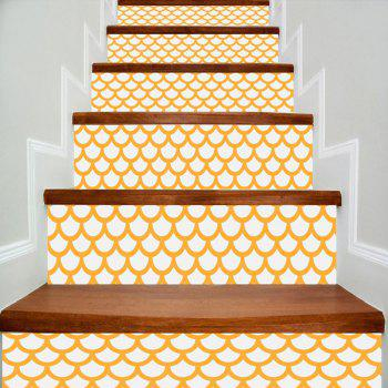 Fish Scales Print Decorative DIY Stair Stickers - WHITE AND YELLOW WHITE/YELLOW
